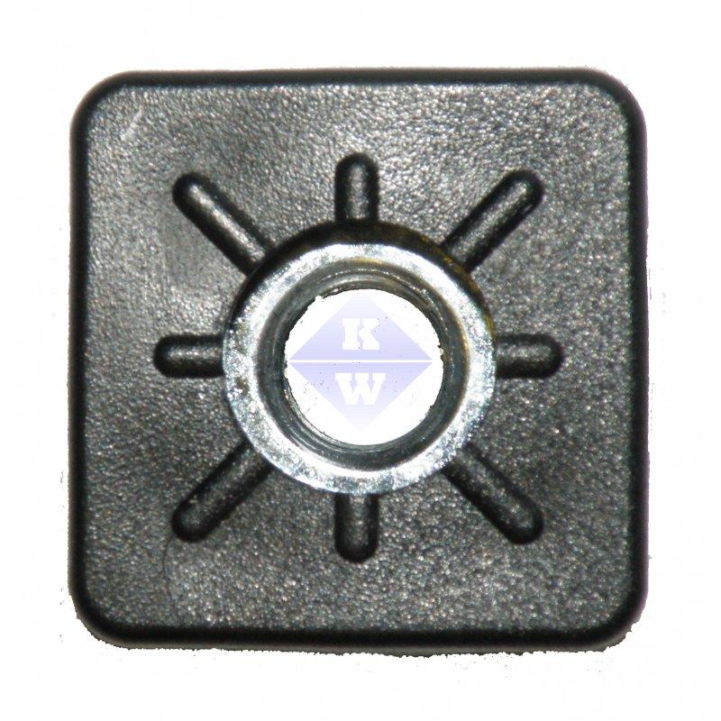 schwarz Gewindestopfen 25x25 mm Einsteckbuchse f/ür Vierkantrohr mit Stellfu/ß Schraub Fu/ß quadratisch Kunststoff